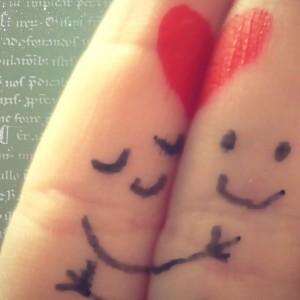 Finger art two in love